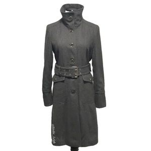 Kenneth Cole Gray Belted Wool Blend Dress Coat